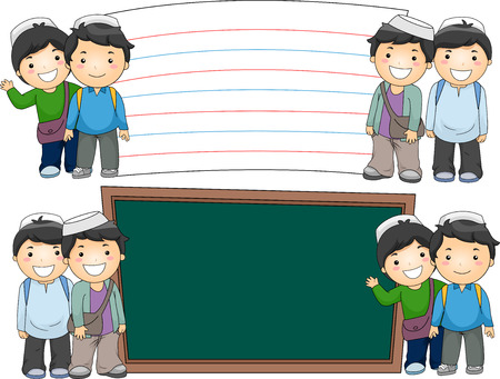Illustration of Male Muslim Students Standing Beside Blank Boards Stock Photo
