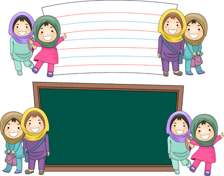 muslim: Illustration of Female Muslim Students Standing Beside Blank Boards Stock Photo