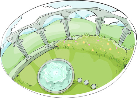 garden fountain: Illustration of a Garden Decorated With a Colonnade and a Fountain