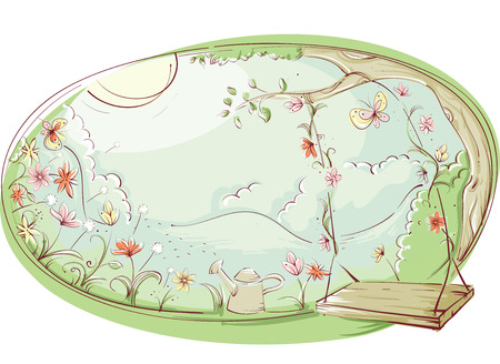 relax garden: Illustration of a Wooden Swing in a Garden Filled With Flowers