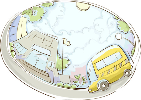 parked: Illustration of a School Bus Parked Near a Building Stock Photo