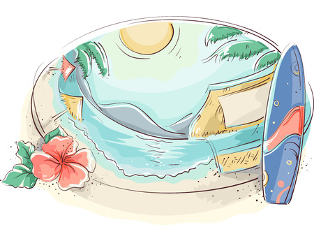 beach side: Illustration of a Tropical Beach With a Surfboard and a Hibiscus on the Side