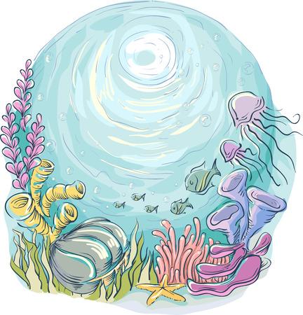 Underwater Illustration of Marine Animals Swimming Around Corals and Seaweeds