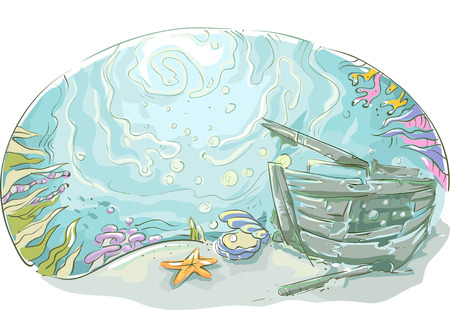 ocean floor: Underwater Illustration of a Shipwrecked Vehicle Lying at the Bottom of the Sea Stock Photo