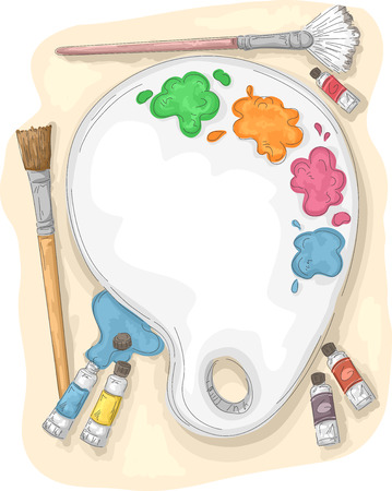 paint palette: Illustration of a Paint Palette Surrounded by Paintbrushes and Tubes of Paint