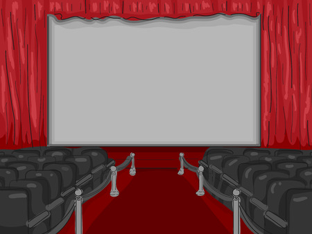 lining: Illustration of a Red Carpet Lining the Aisle of an Empty Theater Stock Photo