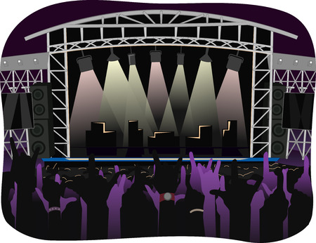 open air: Cropped Illustration of Concert Goers at an Outdoor Stage