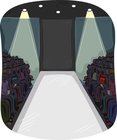 Illustration of Fashion Enthusiasts Gathered Around an Empty Runway