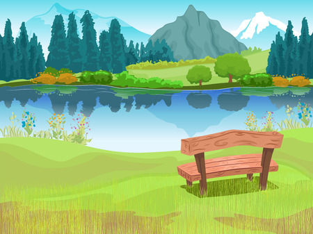 quiet: Illustration of Bench Sitting Beside a Lake Located at the Foot of a Mountain