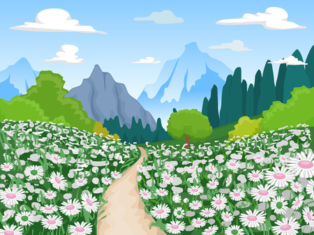 flowery: Illustration of a Flowery Field Leading to a Mountain Stock Photo