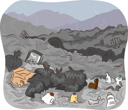 odors: Illustration of a Dump Site Filled With Unsorted Trash