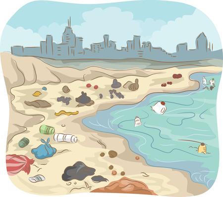 Illustratie van een vervuilde Shore rommel met allerlei Trash