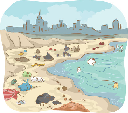 pollution: Illustration of a Polluted Shore Littered With All Sorts of Trash