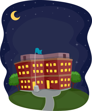 part time: Illustration of a School Building Operating at Night