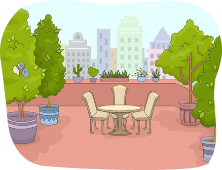 indoor garden: Illustration of a Rooftop Patio Surrounded by Indoor Plants Stock Photo
