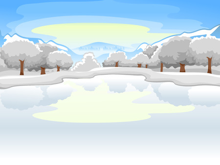 frozen lake: Illustration of a Frozen Lake Surrounded by Equally Frozen Trees Stock Photo