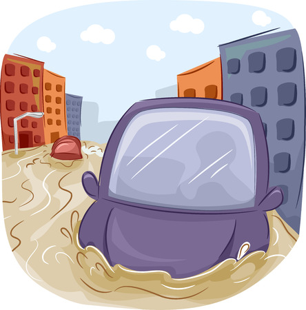 FLOODING: Illustration of a Car Stranded in a Flooded City