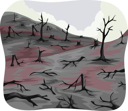 Illustratie van Verkoolde Trees achtergelaten door een Bosbrand Stockfoto