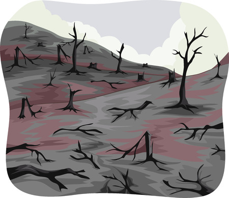 ash: Illustration of Charred Trees Left Behind by a Forest Fire