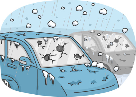 Illustration of Cars Incurring Heavy Damages Due to a Hail Storm