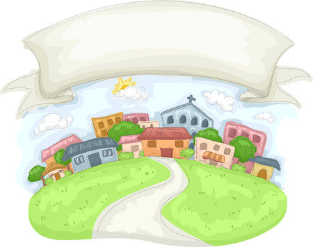 rural community: Banner Illustration of a Close Knit Community