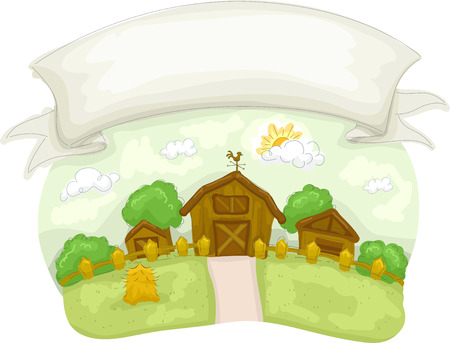 rural house: Banner Illustration of a Typical Farm in the Country
