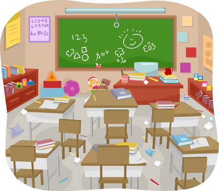 Illustration of a Messy and Disorganized Classroom Imagens