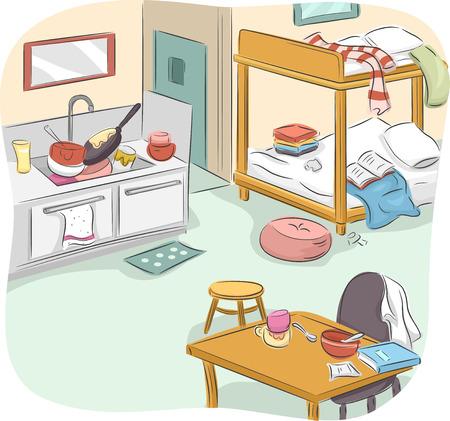 habitacion desordenada: Ilustración de una Unidad Messy Estudio Tipo de Vivienda