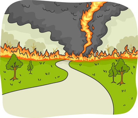 country road: Illustration of a Tornado Fire Ravaging a Country Road