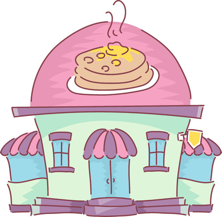 take out food: Illustration of the Facade of a Pancake House