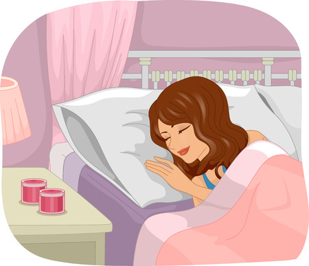 scented candle: Illustration of a Girl Sleeping Soundly Next to Scented Candles Sitting on a Bedside Table