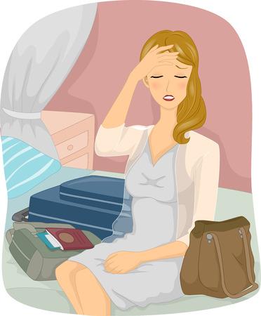 時差ぼけの女の子/時差ぼけに苦しむ女性のイラスト 写真素材 - 37255701