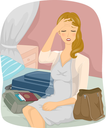 lag: Jet Lag GirlIllustration of a Woman Suffering From Jet Lag