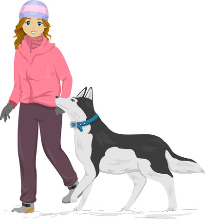 dog walk: Illustration of a Girl Taking Her Siberian Husky for a Walk