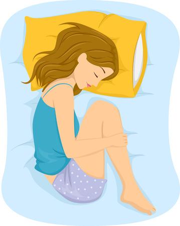 胎児の位置で寝ている女の子のイラスト