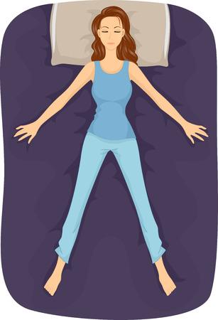 gente durmiendo: Ilustración de una niña que duerme en la posición de las estrellas de mar Foto de archivo