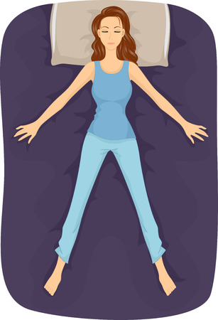 Illustration of a Girl Sleeping in the Starfish Position