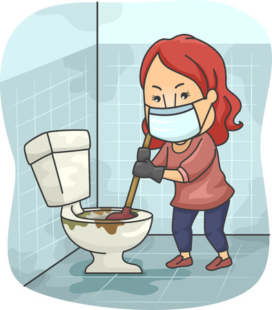 toilet bowl: Illustration of a Girl Trying to Unclog a Toilet Bowl