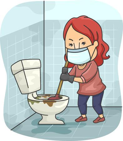 inodoro: Ilustración de una niña tratando de desatascar un inodoro