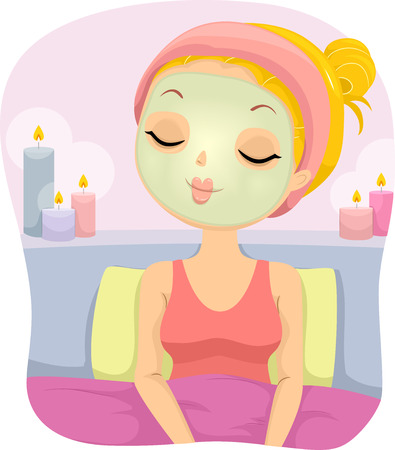 exfoliation: Illustration of a Girl Relaxing on a Bed While Wearing a Facial Mask