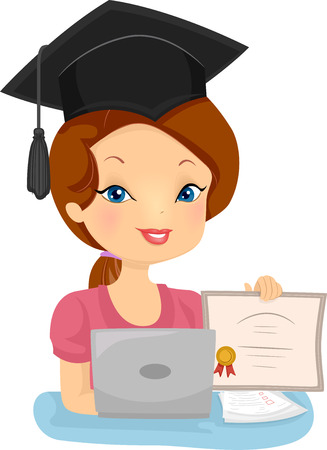 Illustration of a Female Distance Education Graduate Showing Her Diploma Stock Photo