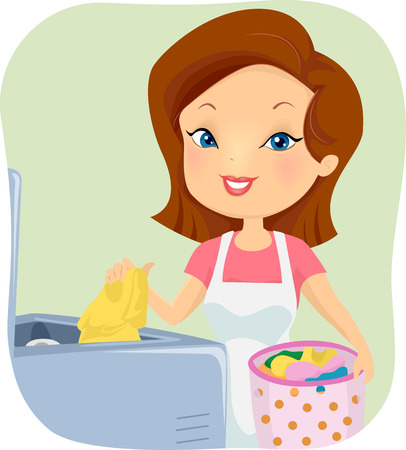 cartoon washing: Illustration of a Girl Putting Dirty Clothes in the Washing Machine