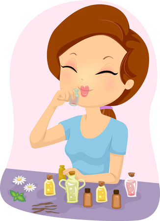 Ilustración de una chica que huele una botella de aceite esencial