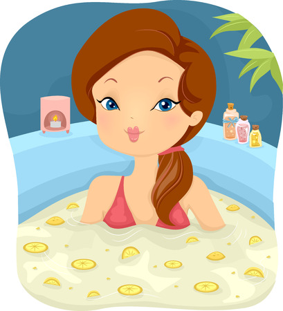 scented candle: Illustration of a Girl in a Spa Soaking in a Bath Filled With Lemon Slices Stock Photo
