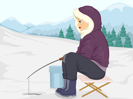 ice fishing: Illustration of a Girl in Thick Winter Clothing Fishing in the Ice Stock Photo