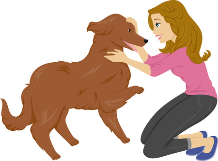 companions: Illustration of a Woman Playing With Her Pet Dog