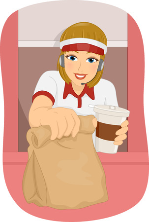 an attendant: Illustration of a Female Fast Food Attendant Manning the Drive Thru Booth