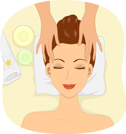 facial mask: Illustration of a Woman Having Facial Mask Applied to Her Face Stock Photo