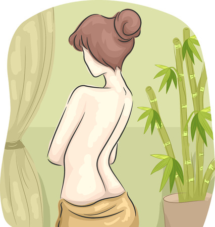 naked woman back: Rear View Illustration of a Half-Naked Woman in a Spa Stock Photo