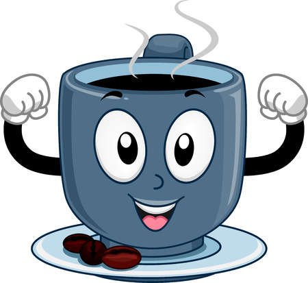 Mascot Illustration of a Strong Cup of Coffee